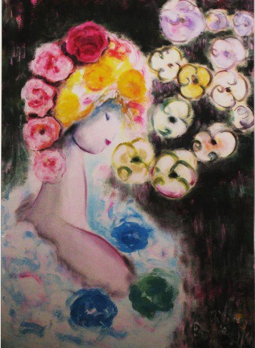 Dans les fleurs jeune fille copie