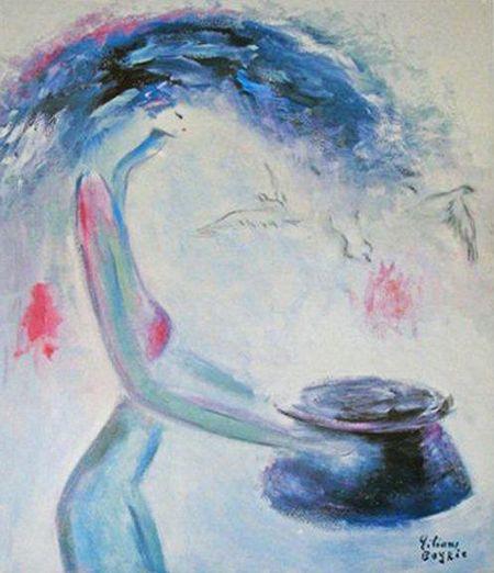 Jeune fille et le vase